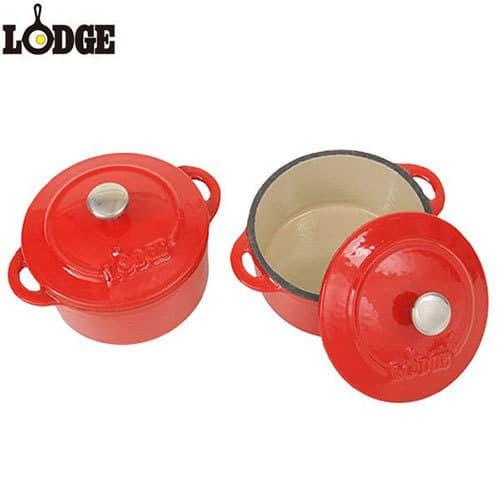 LODGE エナメルミニココット 2個セット 円型